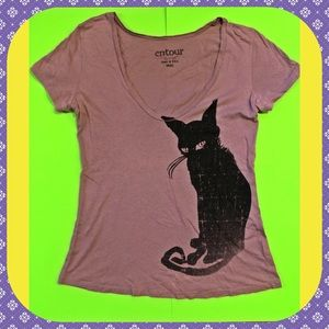 cute vintage black cat tee shirt from hot topic!